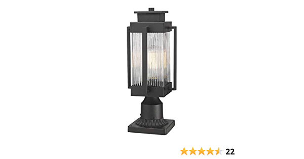 Osimir Outdoor Post Light Large Exterior Post Lantern With Pier Mount Adapter 7 W X 16 H Pier Light In Black Finish With Clear Ribbed Glass Outdoor Lighting For Yard Porch Patio 2377 1gl