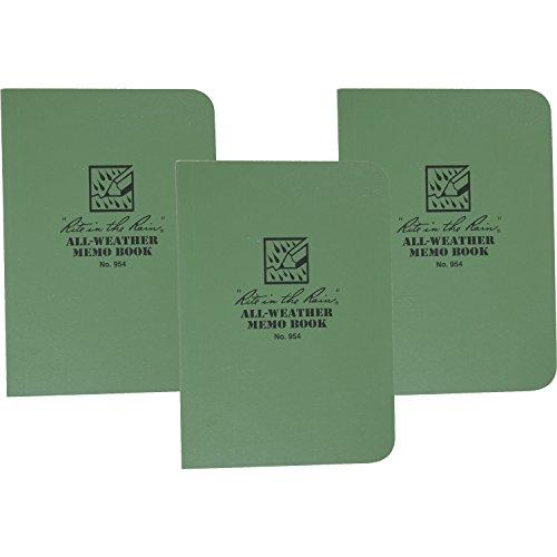 Field Book Flex Bound - Rite in the Rain 954 Green Tactical Memo Book Field-Flex 5-Inch x 3 1/2-Inch -3 Pack