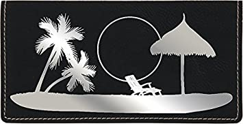 Paradise Beach Laser Engraved Leatherette Checkbook Cover