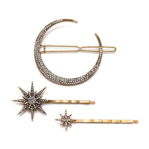 liumiKK 3 Pcs/set Retro Geometric Hair Clip Set Imitation Diamond Moon Star Modeling Hairpin Word Clip For Women Girls Jewelry Ornament ()