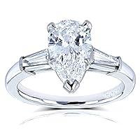 Kobelli Van Cleef Pear Brilliant Diamond Three Stone Engagement Ring 2 1/10 CTW in Platinum (GIA Certified), Size 6