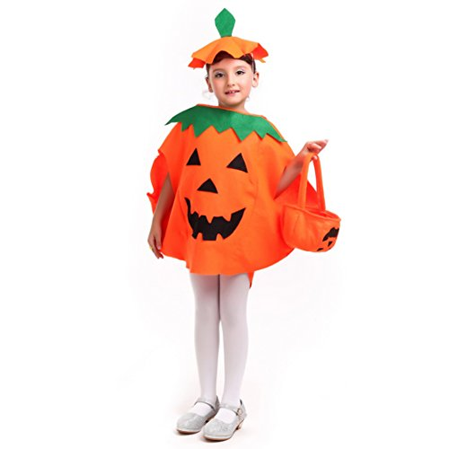 Good Costumes For Moms (iMucci Orange Pumpkin Halloween Costume - Fancy Cosplay Party Dress and Hat and Candy Bag for Kids)