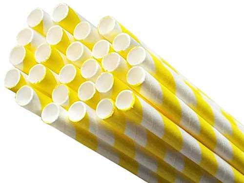 Biodegradable Environmentally Friendly Plant Based Paper Straws for Drinking, Parties, Birthdays and Decorations. 8 Different Rainbow Stripe Colors - 50 Pack (Yellow) -