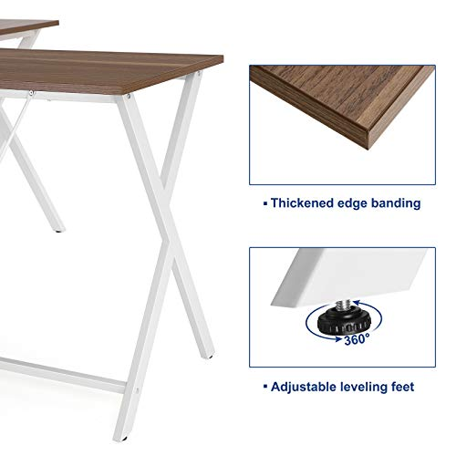 VASAGLE L-Shaped Computer Desk, Corner Office Writing Desk, Gaming Workstation, Sturdy Metal Frame, Easy Assembly, Tools and Instructions Included 57.1''x 51.1'' x 29.9'' ULWD70WH by VASAGLE (Image #5)