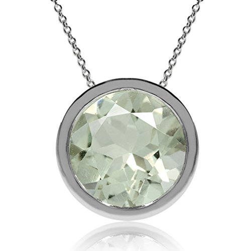 1.7ct. Natural Green Amethyst 925 Sterling Silver Floating Solitaire Pendant w/ Chain Necklace