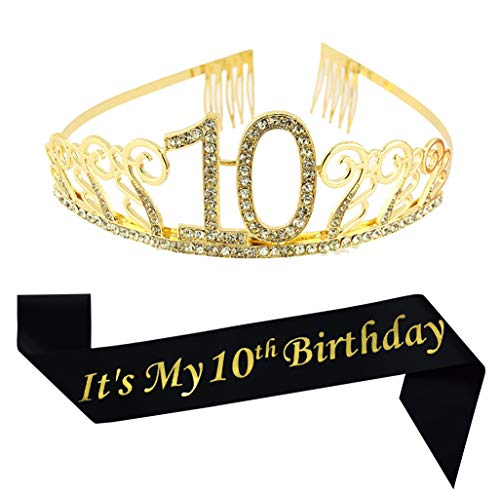 10th Birthday Gold Tiara and Sash, Glitter Satin Sash and Crystal Tiara Birthday Crown for Happy 10th Birthday Party Supplies Favors Decorations 10th Birthday Cake Topper Birthday Gift (Tenth Birthday Candles)