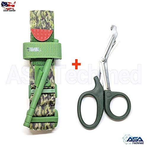 ASATechmed One Hand Tourniquet Combat Application First Aid Handed + Free Shear Green Camouflage Ideal Product for Military, Hunting, Fishing, Doctors, Nurses, EMT, Paramedics and Firefighter
