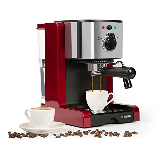 Klarstein Passionata Rossa 15 • Espresso Machine • 1470 Watts • 6 Cups • Automatic Pressure Release • Includes Steam Nozzle for Frothing Milk • Stainless Steel • Red