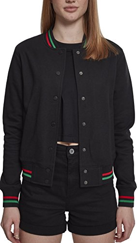 Urban Classic Chaqueta Deportiva para Mujer Mehrfarbig (Black/Green/Fire Red 01225)