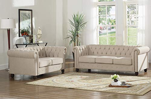 (Best Master Furniture YS001 Venice 2 Piece Upholstered Sofa Set, Beige)