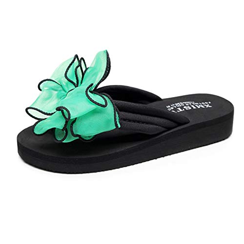 MIOKE Women's Bohemian Bowknot Flipflops Sandals Fashion Comfy Nonslip Platform Summer Beach Thong Sandal
