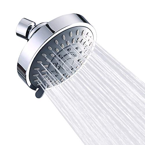 Shower Head High Pressure Rain Fixed Showerhead Rainfall 5-Setting with Adjustable Metal Swivel Ball Joint - Relaxed Shower Experience Even at Low Water Flow & Pressure Aisoso