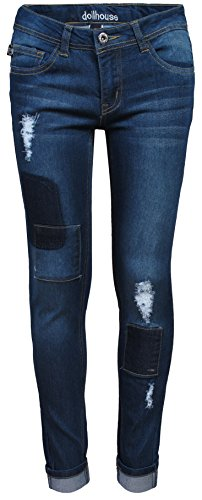dollhouse Girl's Denim Jeans With Rips, Patches & Whiskers, Dark w/Whiskers, Size (Girls Distressed Jeans)