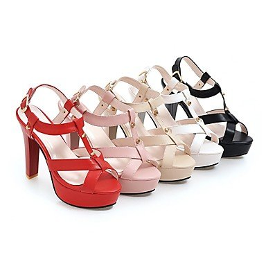 LvYuan Tacón Robusto-Gladiador Zapatos del club-Sandalias-Vestido Informal Fiesta y Noche-Semicuero-Negro Rosa Rojo Blanco Beige White