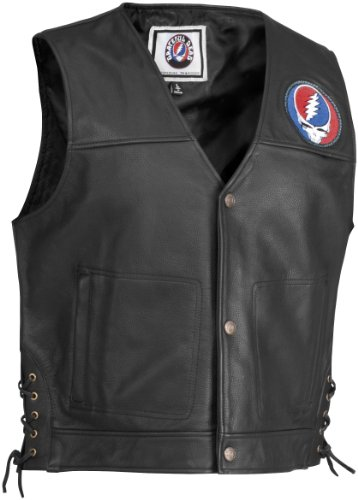 River Road Steal Your Face Pinstripe Leather Vest , Distinct Name: Black, Apparel Material: Leather, Primary Color: Black, Size: Md, Gender: Mens/Unisex XF-09-3293