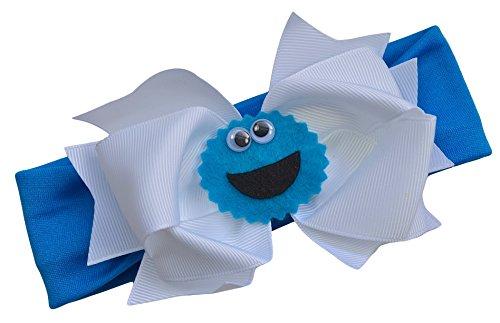Little Monster Baby Bow Headband Funny Girl Designs (Nylon (Newborn to 1 YR), Blue Monster) (Cookie Monster Headband)