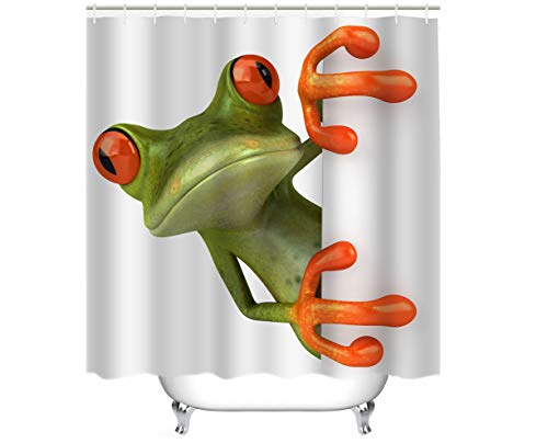 - Cheerhunting Frog Shower Curtain, Cute Porcelain Frog Hiding Behind The Wall, Bathroom Accessory with Hooks, 72