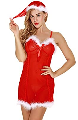 Bedarling Women Christmas Lingerie Lace Baby dolls Chemise Sexy Transparent Nightgown