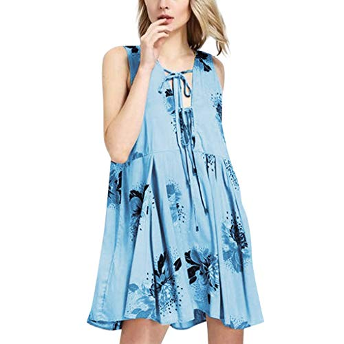 HebeTop ✰ Women's Summer Casual Sleeveless Floral Printed Off Shoulder- Knee Length Casual Party Dress Sundress Light Blue