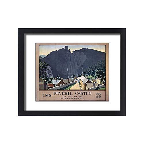 Media Storehouse Framed 20x16 Print of Peveril Castle, LMS Poster, 1924 ()