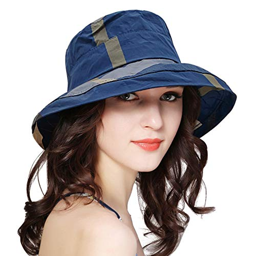 DOCILA Adult Fashion Checkered Waterproof Bucket Hats Lightweight Summer Fishing Camping Sun Cap (Navy) ()
