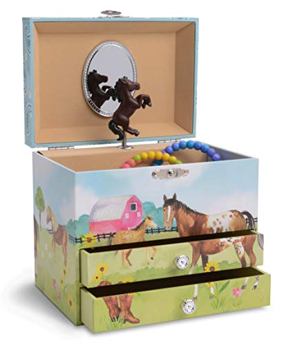 JewelKeeper Musical Jewelry Box with 2 Pullout Drawers, Horse and Barn Design, Home on the Range Tune