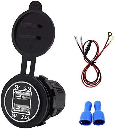 Semoic ユニバーサル 車の充電器 USB車4.2A出力LED防水 デュアルUSBポートシガーライターソケットプラグ電圧計携帯電話スマート充電アダプター ホワイト