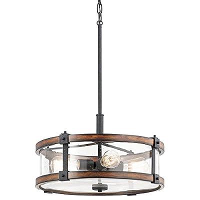 "Kichler Lighting Barrington Distressed Black and Wood Rustic Single Seeded Glass Drum Pendant, 18"" W"