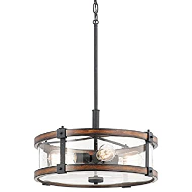 Kichler Lighting Barrington Distressed Black and Wood Rustic Single Seeded Glass Drum Pendant, 18  W