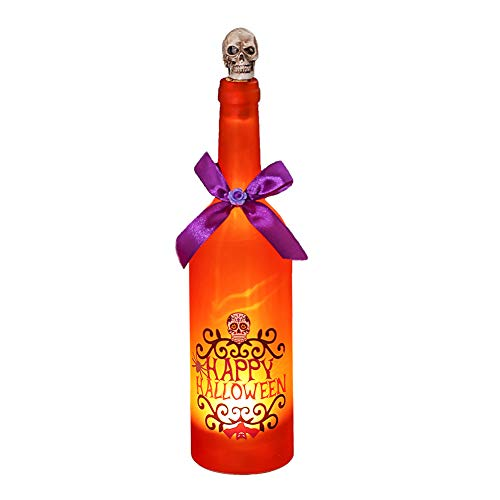 appy Halloween Bottle LED Lights with Cork and Ghost Laughter for Day of The Dead Wedding Decorations, Touch Activated and Battery Operated (Orange) (Halloween Wine Bottle)