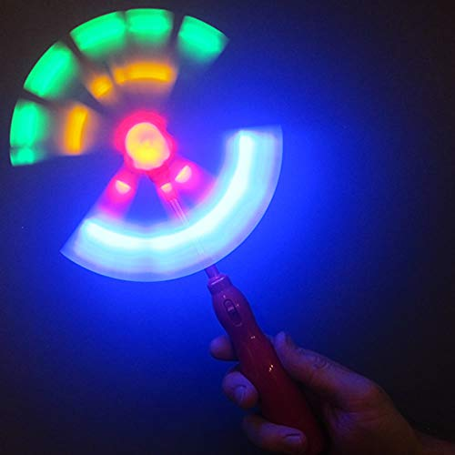 """Light Up Windmill Wands (Set of 4) - 9"""" Glowing Party Wand with Spinning LED Lights"""