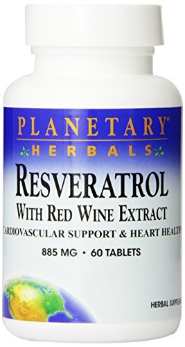 Planetary Herbals, Resveratrol, with Red Wine Extract, 60 Tablets by Planetary Herbals by Planetary Herbals