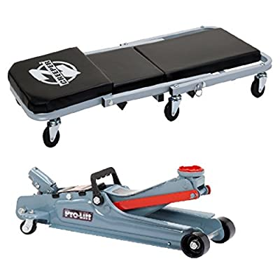 "Bundle of 2: Pro-Lift C-2036D Grey 36"" Z-Creeper and Low Profile Floor Jack - 2 Ton Capacity"