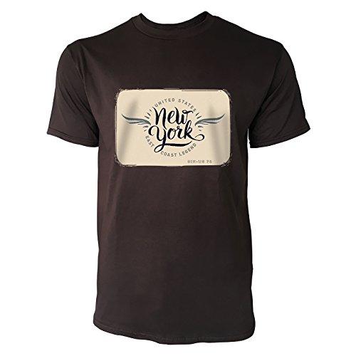 SINUS ART ® New York East Coast Legend Herren T-Shirts in Schokolade braun Fun Shirt mit tollen Aufdruck