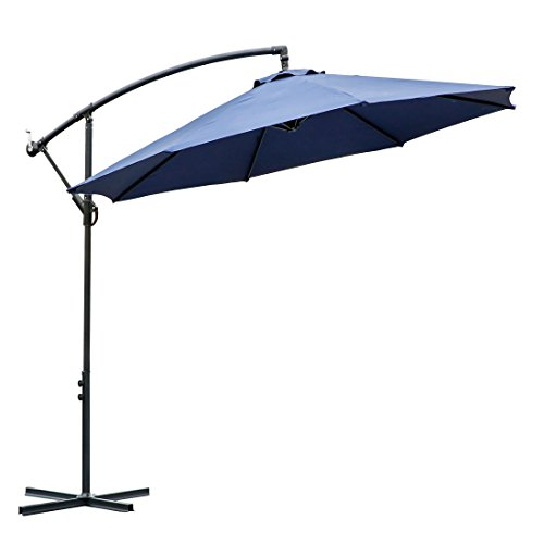 10 ft offset cantilever patio umbrella outdoor market hanging umbrellas & crank with cross base , 8 ribs (10 ft, Dark blue) (Blue Patio Pavers Stone)