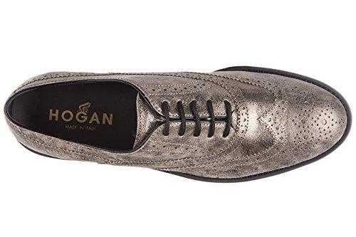Hogan clásico zapatos de cordones mujer en piel nuevo h259 route francesina buca