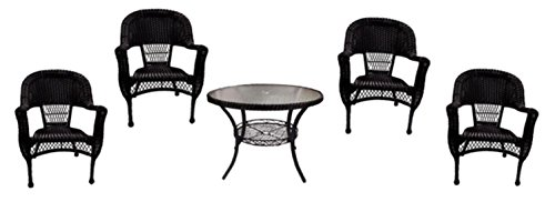 - LB International 5-Piece Black Resin Wicker Patio Dining Set - Table and 4 Chairs