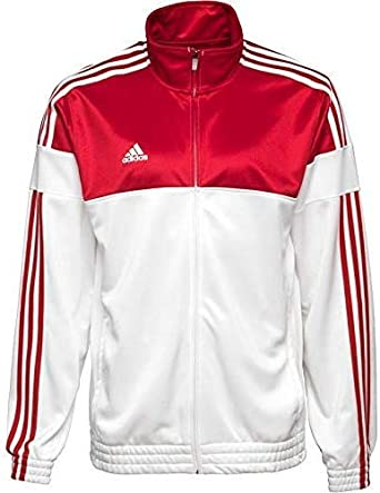 adidas Herren 3S ESS Trainingsjacke Sport Jacke Firebird Tracktop Weiß Rot o. Grün