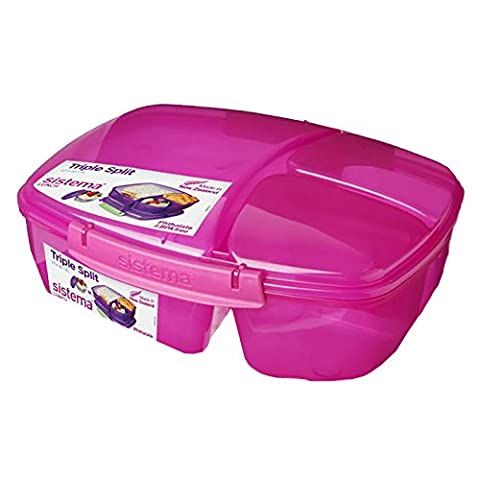 Sistema Lunch Collection Triple Split Lunch Box with Yogurt Pot Food Storage Container, 67.6 Ounce/8.45 Cup, Assorted (Sistema Klip It Split)