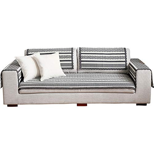 Cotton Sofa Cover Retro Brief Grey/Beige Printing Soft Modern Slip Resistant Sofa Slipcover Seat Couch Cover for Living Room,1,70 cm 0 cm