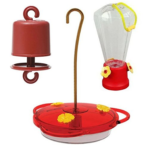 Blue Hummingbird Feeder (More Birds 30 Classic Brands 3-in-1 Humming Bird Feeder, 6 fl oz , Red & 10 oz Hummingbird Feeder-Blue Bunting with Perky-Pet 245L Ant Guard for Bird Feeders-Single ( 3 Pack Bundle) Spring Gift)