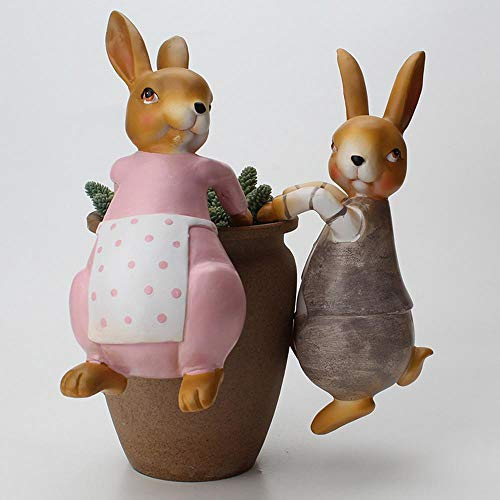 Womdee Planter Pot Hanger Decorations, 2Pcs 3D Craft Rabbit Figurines Climbing Decoration and Bunny on A Fence Yard Decor, Animal Ornaments for Miniature Fairy Garden Office Desk Home Decor