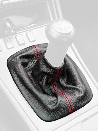 - RedlineGoods Shift Boot Compatible with Porsche 944 1985-95. Black Leather-Red Thread