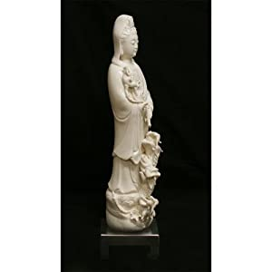 China Furniture Online Porcelain Kwan Yin Statue, Hand Crafted Standing Kwan Yin Buddha with Rising Dragon Motif White Glaze