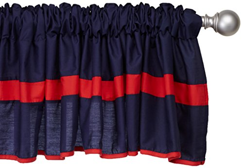 Baby Doll Bedding Solid Stripe Window Valance, Navy/Red (Window Solid Valance Red)