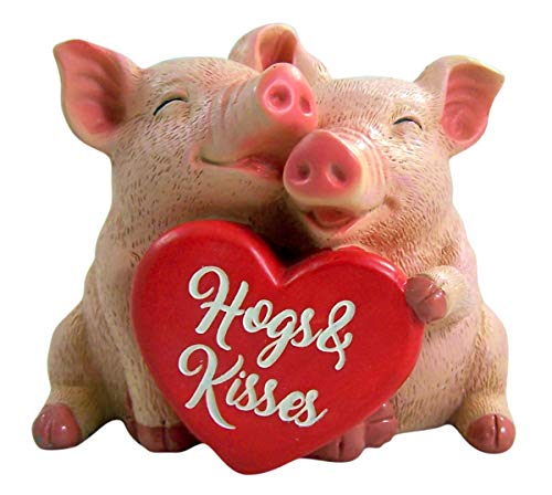 Hogs and Kisses Two Pigs Funny Romantic Valentines Day Figurine, 6 Inch