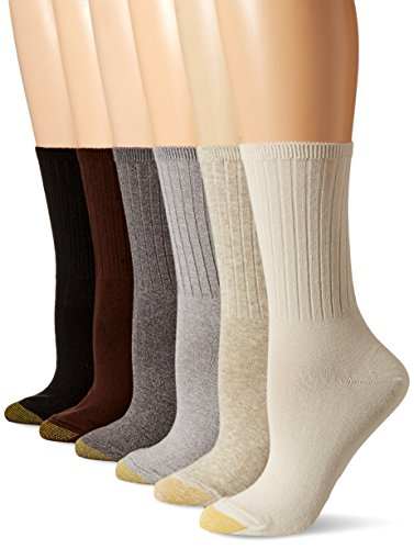 Gold Toe Women's 6-Pack Casual Ribbed Crew Sock Brown Mix Shoe Size: 6-9 (Socks Toe Gold Cotton)