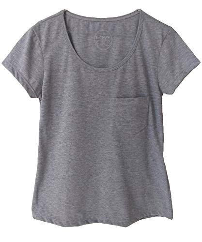Camiseta T-Shirt Adulta Feminina Básica Com Bolso (P, Cinza)