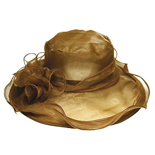 Women's Organza Fascinator Bridal Bud silk Cap Tea Party Wedding Sun Hat (Coffee)