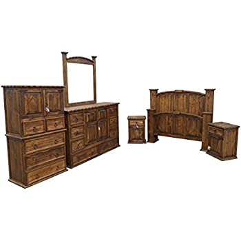 rustic queen bedroom sets. Dark Wax Rope Edge Western King Size Mansion Rustic Bedroom Set Free  Delivery 6 Pcs Amazon com Queen